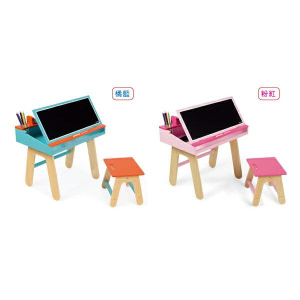 【法國Janod】兒童學習畫桌組(橘藍/粉紅)