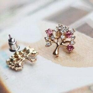 美麗大街【GE0273】 招財樹紫色白鑽 可愛時尚精緻帶好運 耳環耳釘
