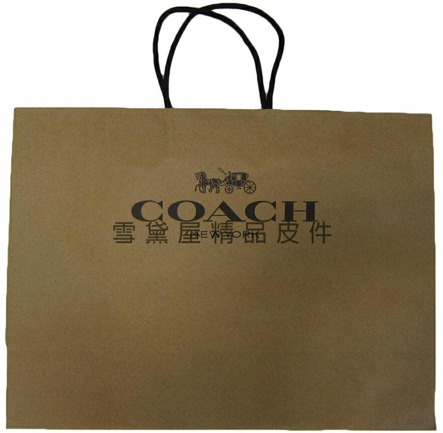 ~雪黛屋~COACH 紙袋國際正版男女包紙提袋進口厚紙材質可摺疊收納展開為提袋大型可放A4資料夾#8884