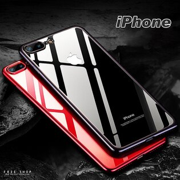 FreeShop蘋果IPHONEX876sPlus系列超薄全包防摔四邊電鍍透明矽膠軟殼手機殼【QABI30012】