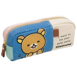 【日本進口】San-X 拉拉熊 帆布 筆袋 鉛筆盒 懶懶熊 Rilakkuma - 666077