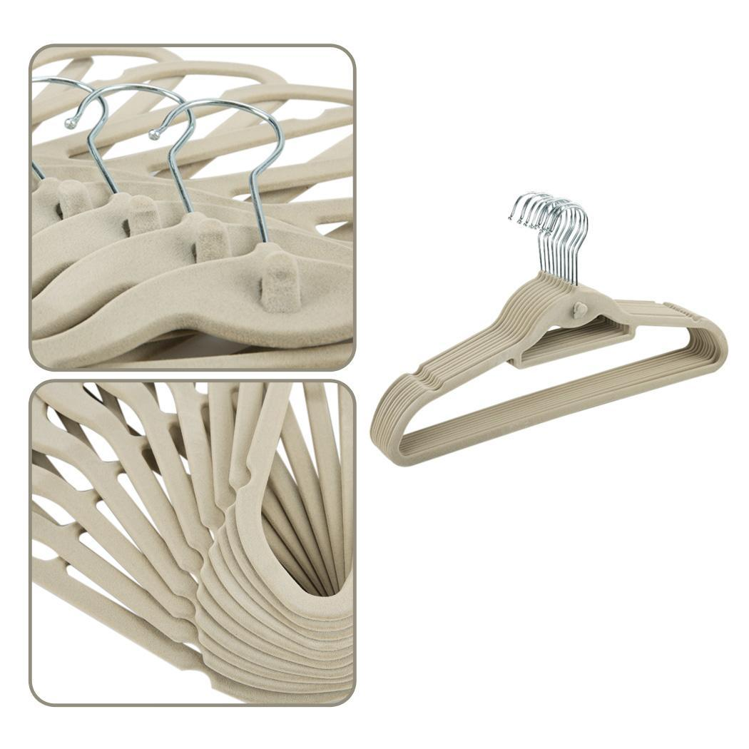 100Pcs Flocked Velvet Covered Anti-Slip Clothes Suite Hangers Closet Organizer 4