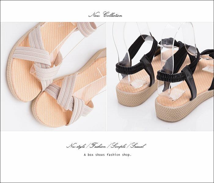 【AW2615】時尚素面麻繩布皮革材質 鬆緊帶穿拖 3CM坡跟交叉涼鞋 3色 2