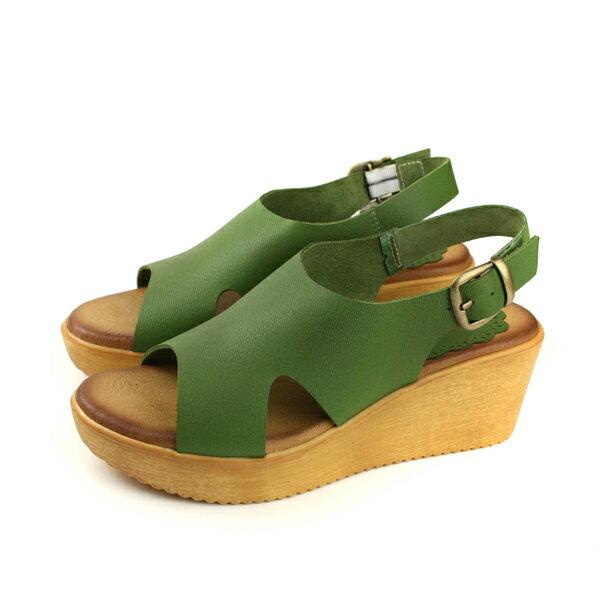 HUMANPEACE涼鞋厚底牛皮綠色女鞋7766no337