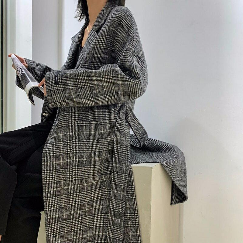毛呢大衣羊毛外套-長版格紋繫帶翻領女外套73wb12【獨家進口】【米蘭精品】 1