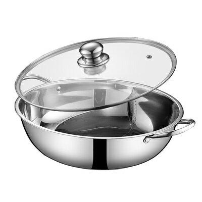 鴛鴦鍋火鍋盆加厚不銹鋼鴛鴦鍋電磁爐專用火鍋鍋家用鴛鴦鍋涮鍋具『J422』