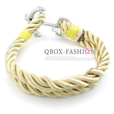《 QBOX 》FASHION 飾品【W10024846】精緻個性船錨粗棉繩316L鈦鋼手鍊/手環(金)