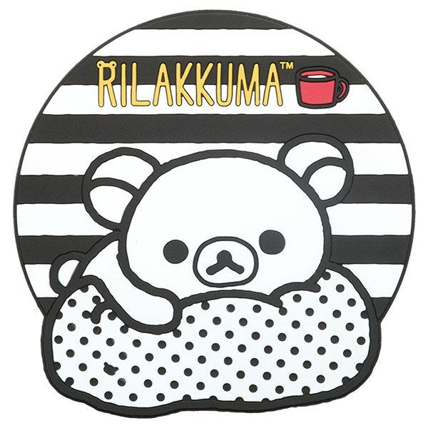 【真愛日本】16092200007  圓形杯墊-懶熊黑白條紋  SAN-X 懶熊 奶熊 拉拉熊 杯墊 止滑墊 墊子