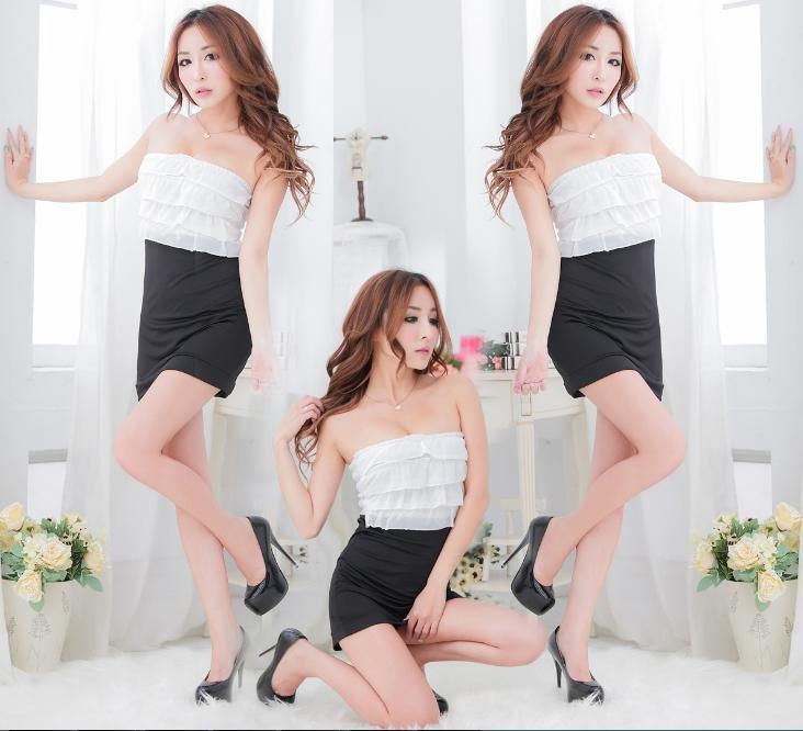 午夜魅力情趣性感火辣夜店裝 黑白拼接平口超短洋裝連身裙 f22