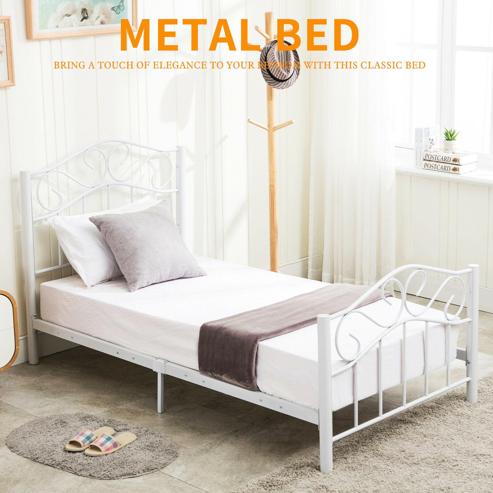 best service 31047 80f7f daisybuy66: Twin Size Heavy Duty Metal Bed Frame Headboard Footboard  Bedroom Furniture White | Rakuten.com