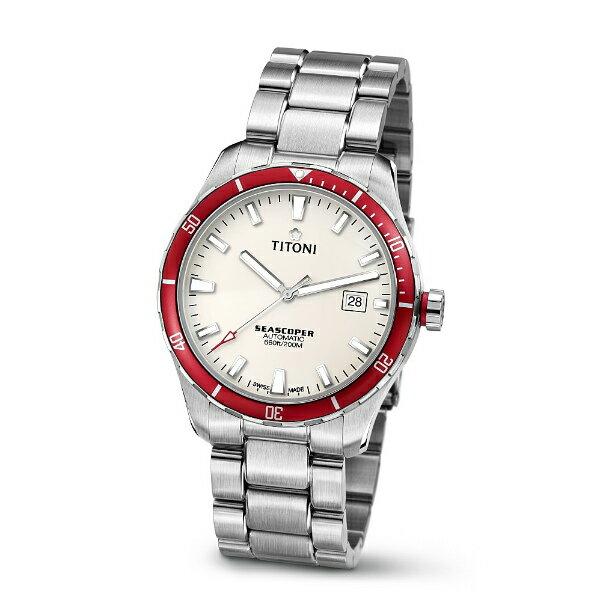 TITONI瑞士梅花錶83985SRB-517 Seascoper系列專業潛水機械腕錶/白面41mm
