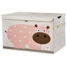 【淘氣寶寶】加拿大 3 Sprouts 大型玩具收納箱-小河馬【超大容量造型玩具箱,可摺疊收納,加蓋防塵】【保證公司貨●品質保證】