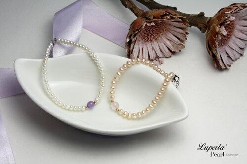 大東山珠寶 氣質婉約 紫水晶珍珠14K手鍊 氣質白 3