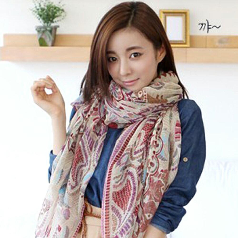 太妃糖 青春活力采色巴黎紗圍巾(米)