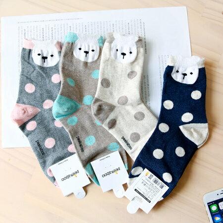 韓國 超萌立體兔兔大點點中筒襪 小白兔 玉點 短襪 棉質 襪子 百搭 造型襪 流行襪【N201375】