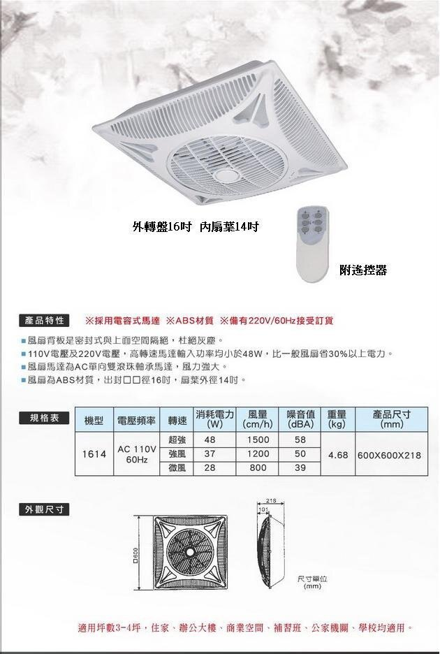 出風口16吋-扇葉14吋循環扇-輕鋼架專用扇-百分之百台灣製造,電扇工廠專業製造-吊扇-風扇