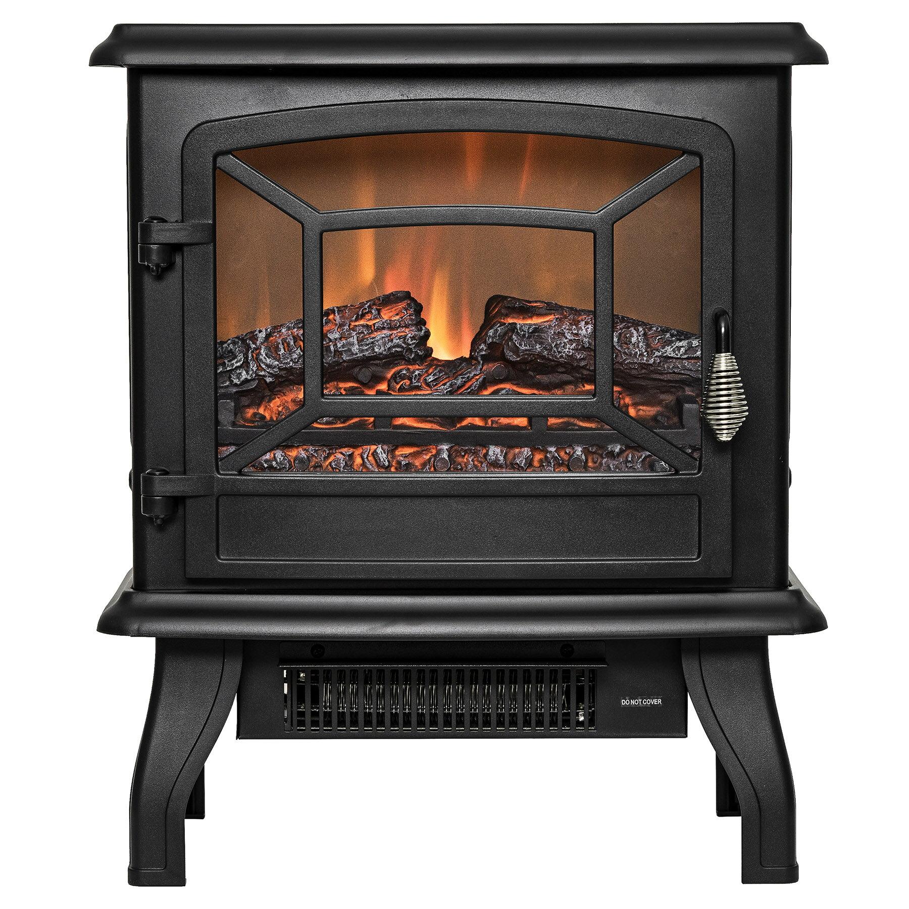 "AKDY 17"" Black Finish Freestanding Portable Electric Fireplace Heater 2 Setting Level 0"