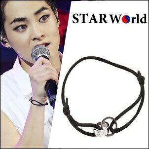 EXO Xiumin 同款韓國???? 雙環交錯鏍絲紋吊墜手繩手鍊
