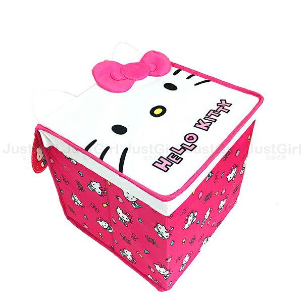 HELLOKITTY摺疊置物盒收納箱掀蓋整理箱居家正版日本進口JustGirl