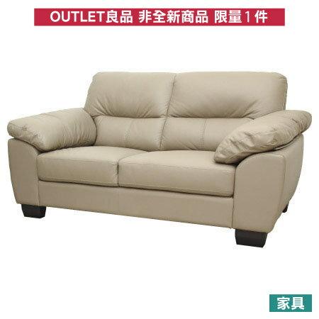 ◎(OUTLET)半皮2人座沙發 CAPUCCINO 福利品 NITORI宜得利家居 0