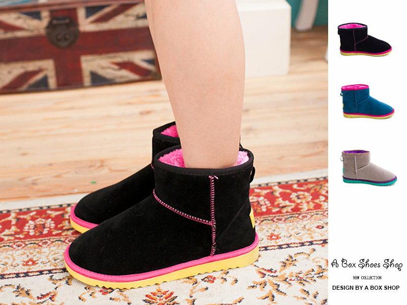 【KL366】韓國新款可愛螢光撞色 雙色厚毛舖裏 防滑膠底素面雪靴 雪地靴 三色