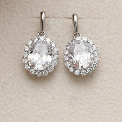 925純銀耳環鑲鑽耳飾~高檔亮眼 母親節生日情人節 女飾品73dm231~ ~~米蘭 ~