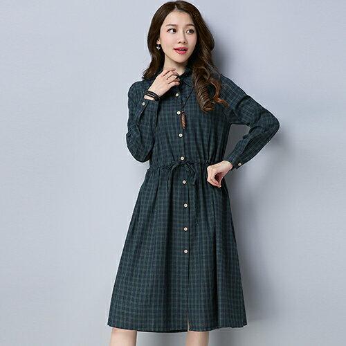 黑白條紋襯衫棉麻連身裙(3色M~2XL)*ORead* 2