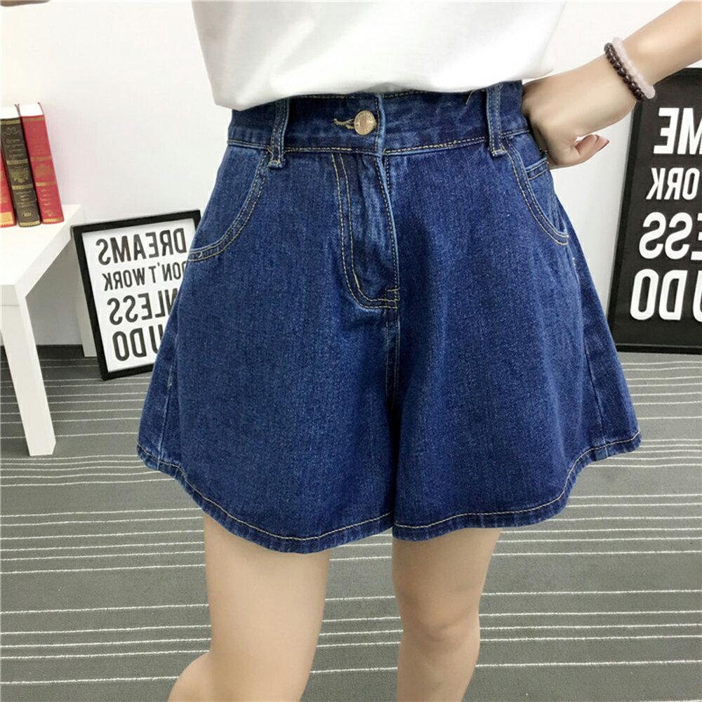 高腰闊腿褲寬鬆顯瘦牛仔短褲(2色XL~5XL)【OREAD】