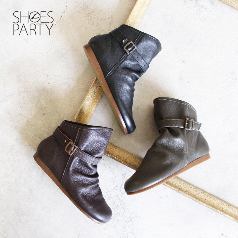 預購【F2-18106L】扣帶自然皺褶真皮中筒靴-日本製 3