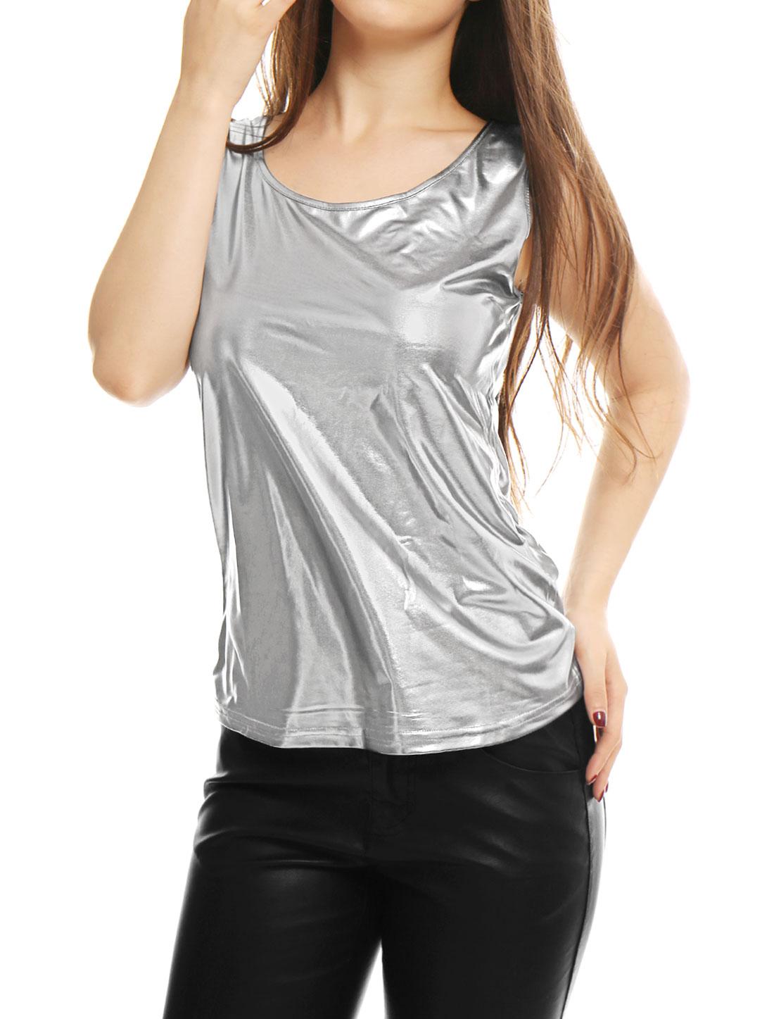 d120af72073e Unique Bargains Women's U Neck Stretchy Slim Fit Metallic Tank Top Silver ( Size L /