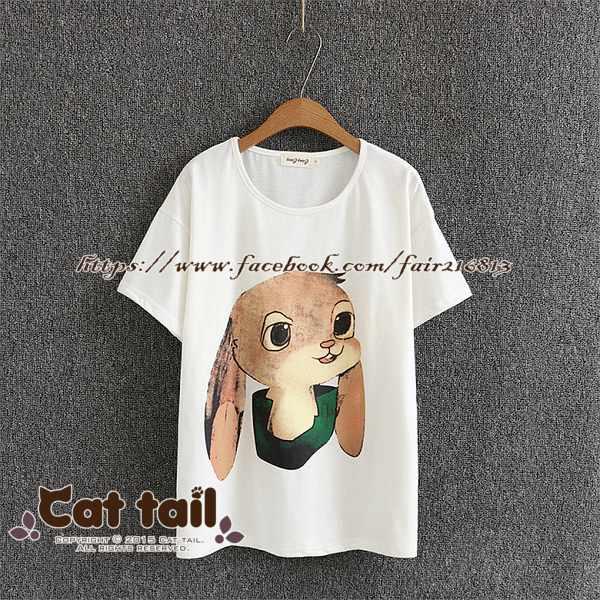 《貓尾巴》TS-0807日系可愛卡通兔印花短袖T恤(森林系日系棉麻文青清新)