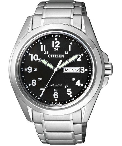 CITIZEN星辰AW0050-58E雙日曆經典光動能腕錶/黑面43mm
