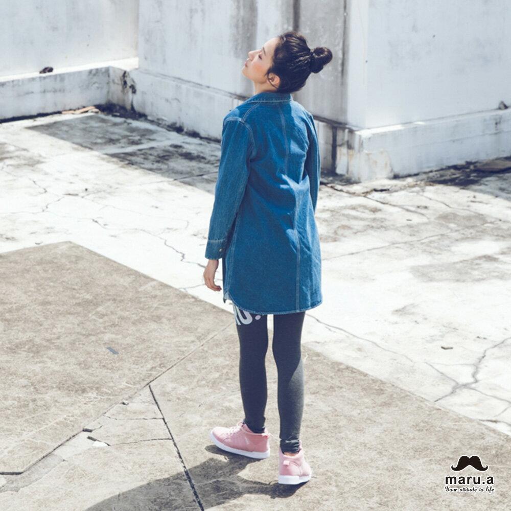 【mini maru.a】童裝親子裝彩色方塊印花長版牛仔襯衫(2色)7953211 5