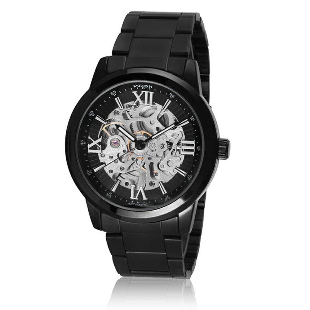 Wilon威龍 2059-IP鏤空透底指針式 全自動上鍊機械男錶 - 黑色 - 限時優惠好康折扣
