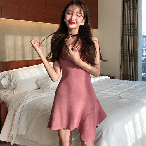 PS Mall V領緊身針織彈力連身裙不規則下擺甜美短洋裝【T718】 0
