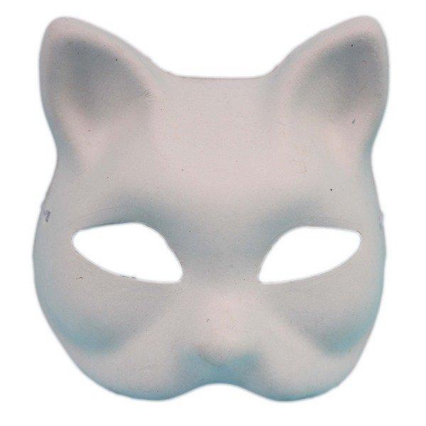 貓面具 彩繪面具 (狐狸面具)附鬆緊帶/一袋20個入(定40) 貓頭面具 空白面具 空白眼罩DIY面具 紙面具 紙漿面具-AA3966