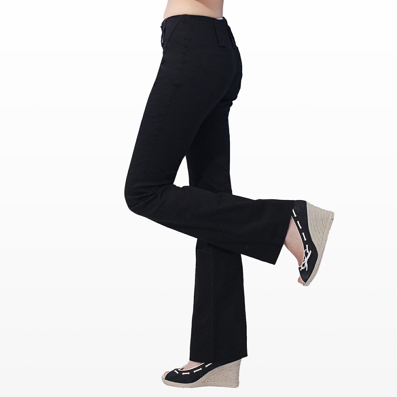 西裝褲--纖細長腿OL韓版一體成形中央壓線銀扣中腰小喇叭西裝褲(S-5L)-K01眼圈熊中大尺碼 1