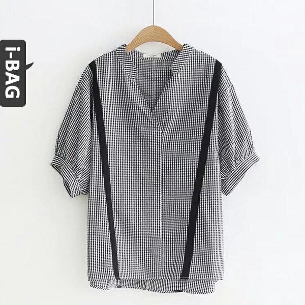 B.A.G*現+預*【TD1418】V領格子黑條短袖襯衫(現+預)