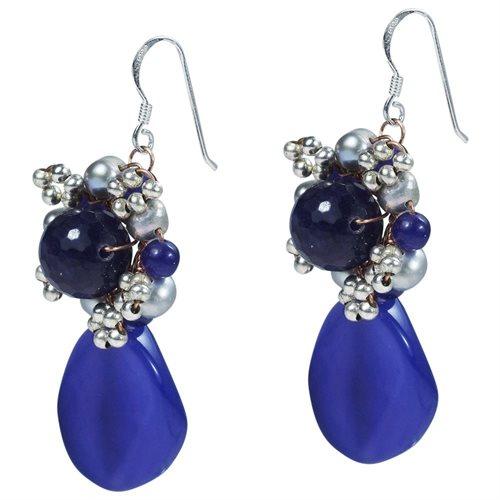 Drop Oval Purple Amethyst Pearl .925 Silver Earrings 1