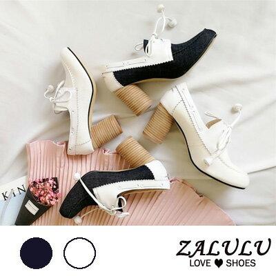 ZALULU愛鞋館 GB034預購款真皮英倫尖頭跟鞋-白/深藍-35-39