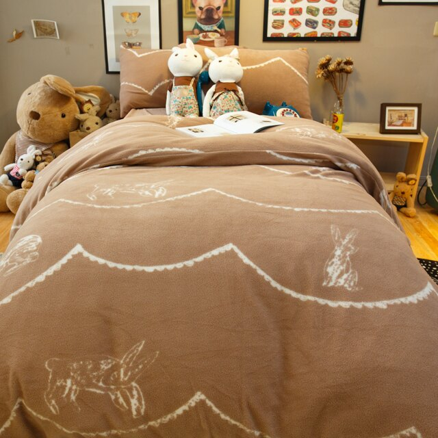 搖粒絨床組 可可塗鴉兔  單人/雙人/加大綜合賣場  溫暖過冬 台灣製 6