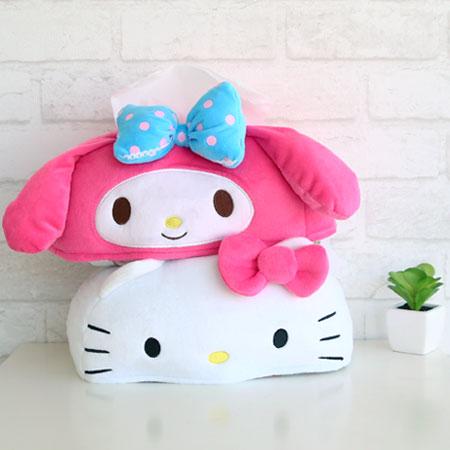 正版 三麗鷗卡通人物造型面紙套 面紙盒套 紙巾套 紙巾盒 凱蒂貓 Hello Kitty 美樂蒂【N102034】