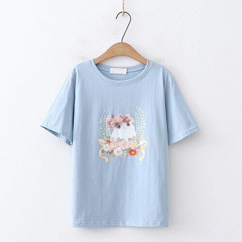釘珠花朵印花圓領短袖T恤(4色F碼)【OREAD】 3