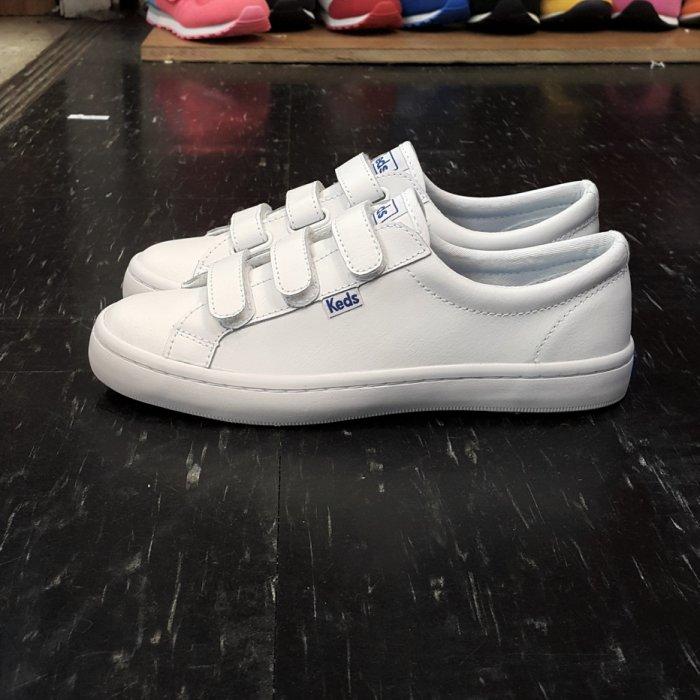 Keds 魔鬼氈 白色 全白 皮革 基本款 小白鞋 修長 韓版 藍標 防水 復古