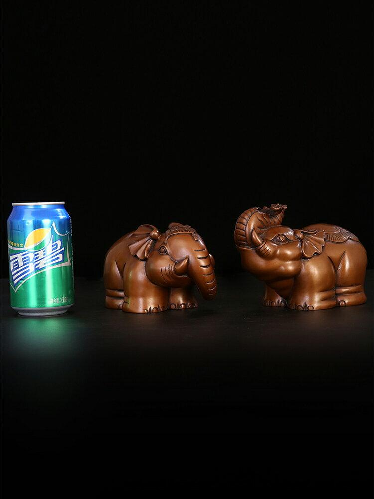 匠澤銅魂 紫銅如意象擺件純銅大象一對辦公室風水招財家居裝飾品