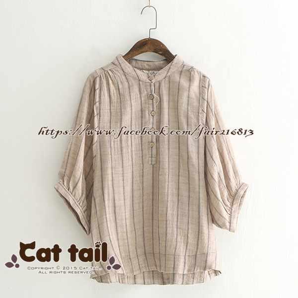 《貓尾巴》LZ-03237休閒簡約條紋立領短袖襯衫(森林系日系棉麻文青清新)
