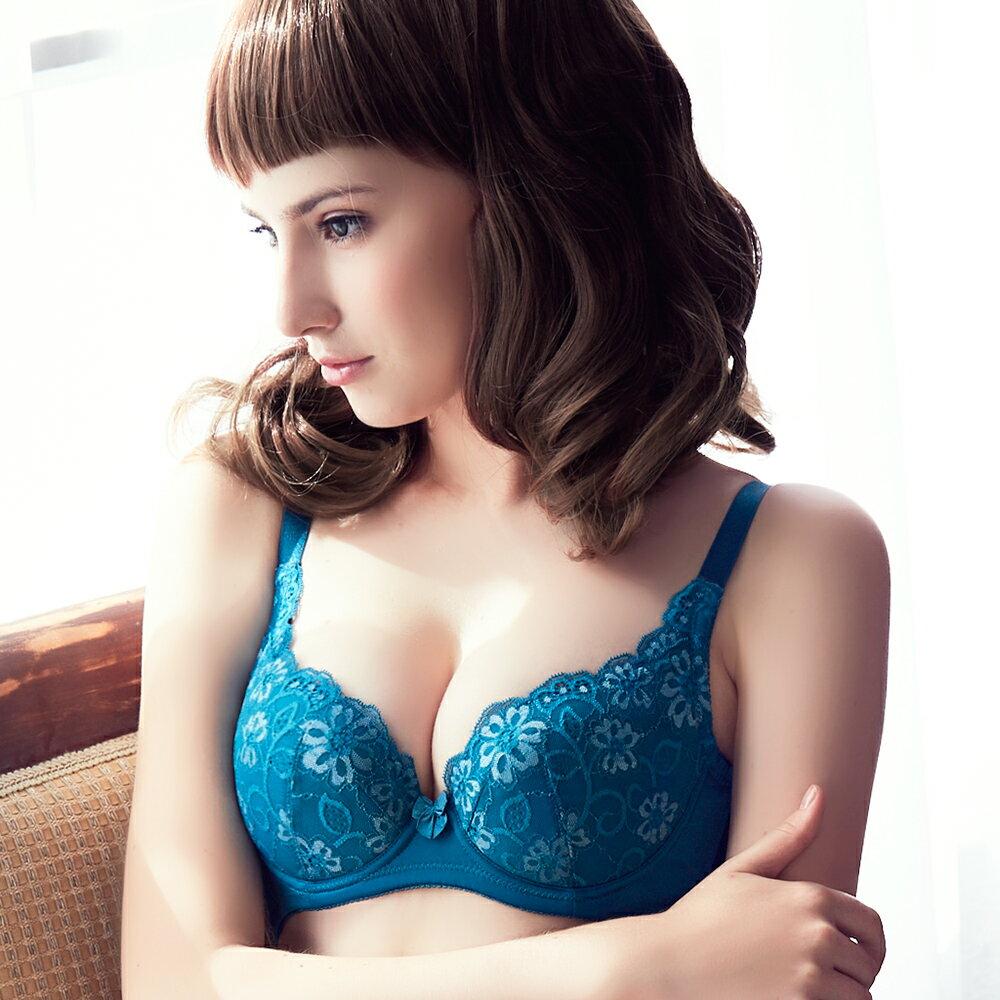【Emon】心湛花戀深V系列成套內衣(繽紛藍) 0