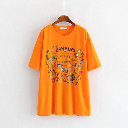 卡通印花圓領中長款套頭短袖T恤(3色F碼)【OREAD】 2