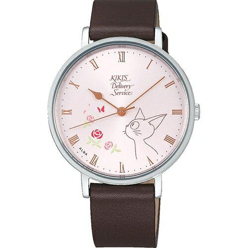 【真愛日本】18081400012牛革皮帶輕量ALBA圓錶-JIJI側臉玫瑰粉魔女宅急便ALBA牛革手錶圓錶
