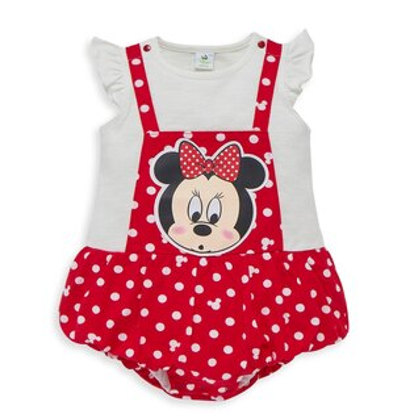 Disneybaby米妮系列荷葉吊帶假二件連身裝-大紅